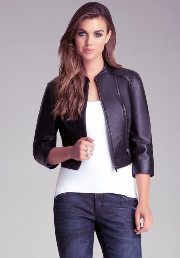 Bebe Cropped Leather Jacket In Black - Lyst