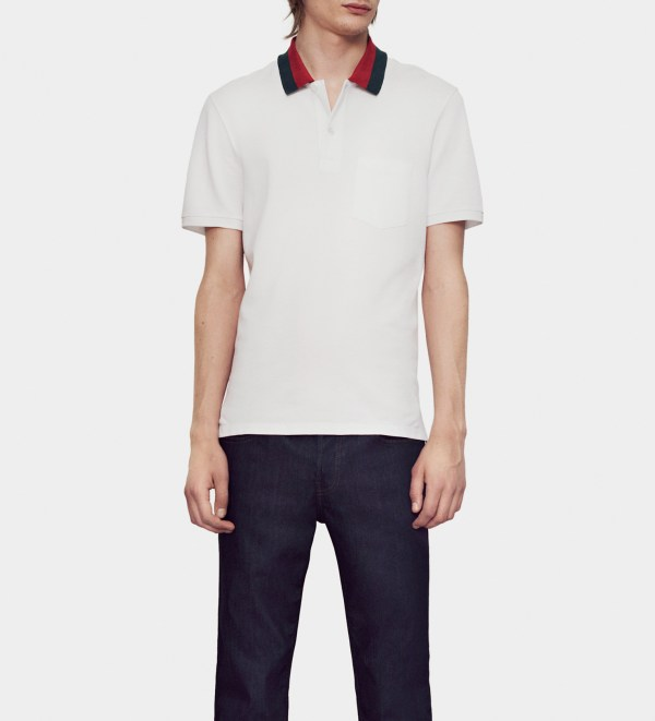 833a7c702dda Gucci White Cotton Piquet Polo Shirt With Web Collar Detail Men Lyst