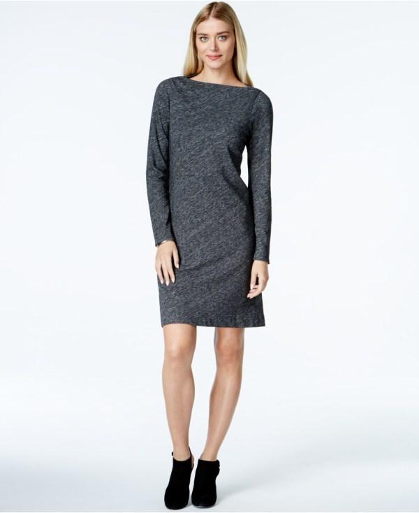 Lyst - Eileen Fisher Bateau-neckline Knit Shift Dress In Gray