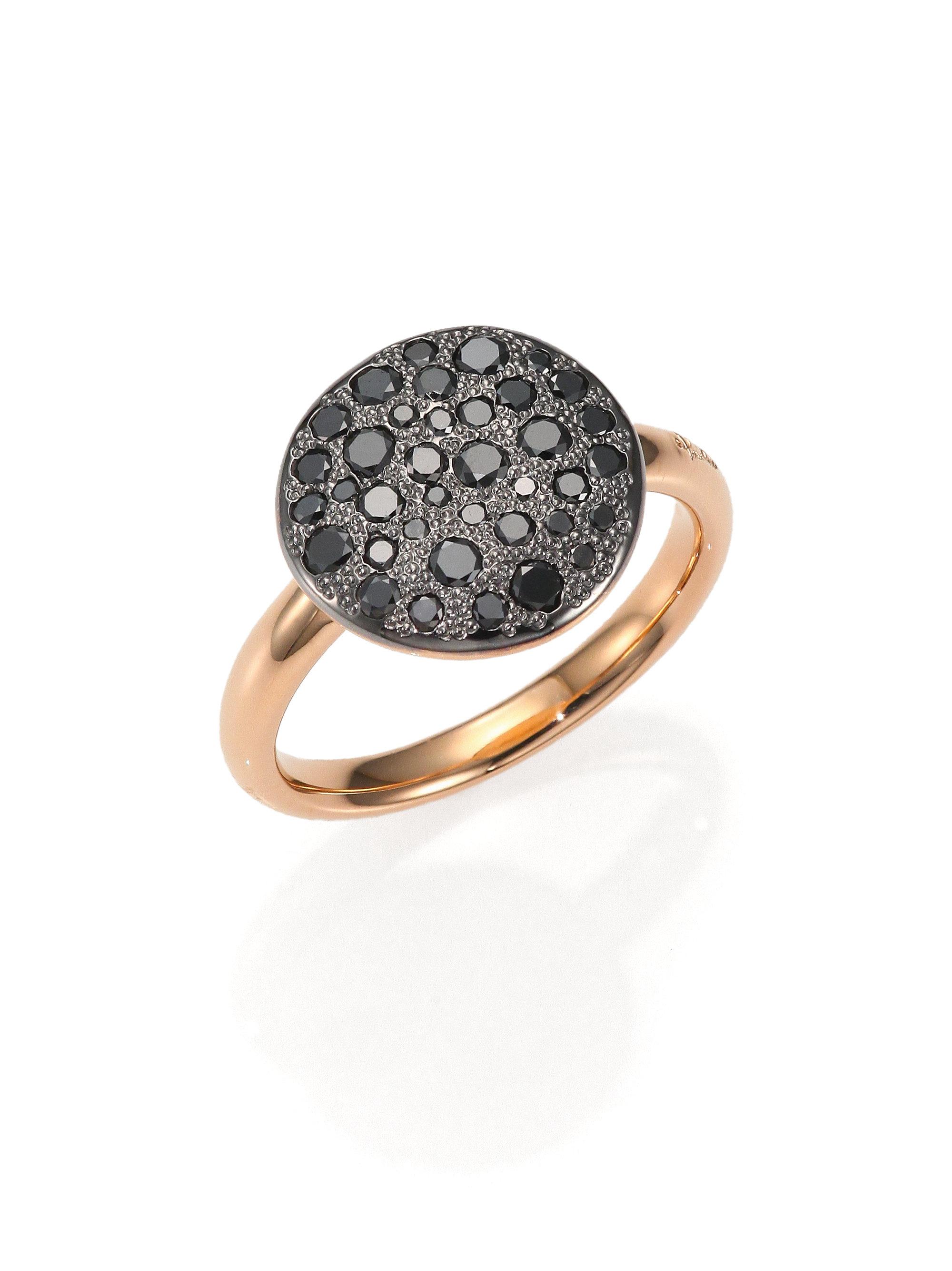 Pomellato Sabbia Black Diamond & 18k Rose Gold Ring in
