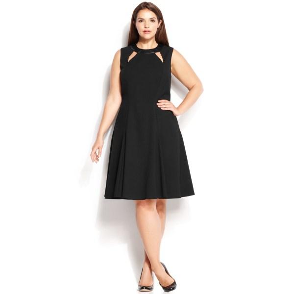 Calvin Klein Size Fauxleathertrim Cutout Dress In