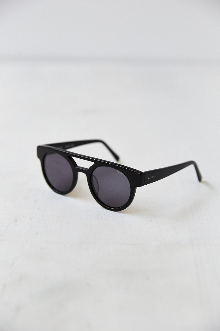 Komono Crafted Dreyfuss Black Round Sunglasses for Men - Lyst
