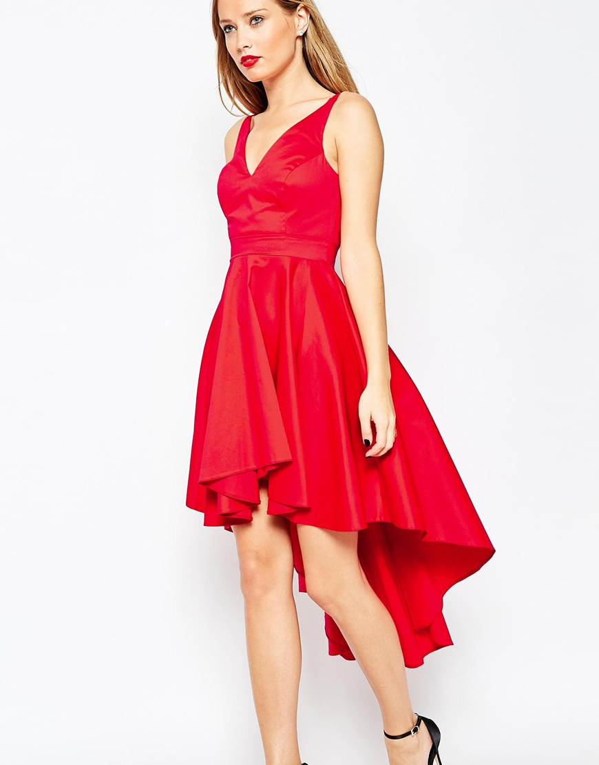 ASOS Prom Dress With High Low Hem in Red  Lyst