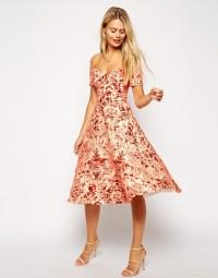 Asos Porcelain Print Bardot Midi Prom Dress in Orange   Lyst