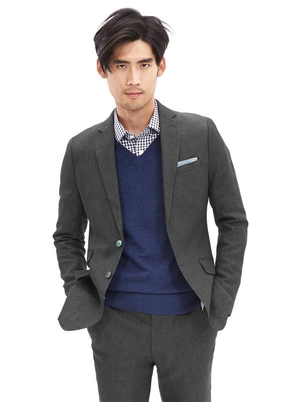 Banana Republic Modern Slim-fit Gray Linen Suit Jacket In
