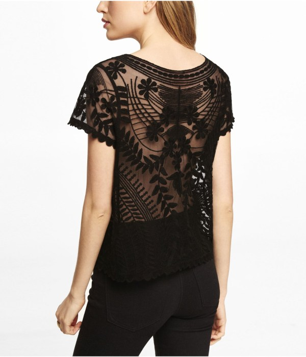 Lyst - Express Short Sleeve Baroque Lace Tee In Black