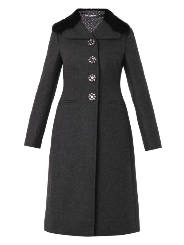 Dolce & Gabbana Mink-fur-collar Wool-blend Coat In Gray Lyst