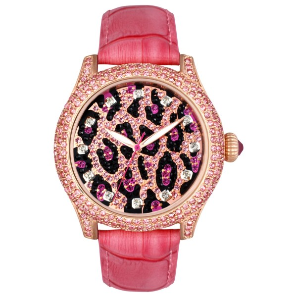 Betsey Johnson Womens Pink Croc Embossed Leather Strap