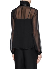 Armani Tie Bow Sheer Silk Blouse in Black | Lyst