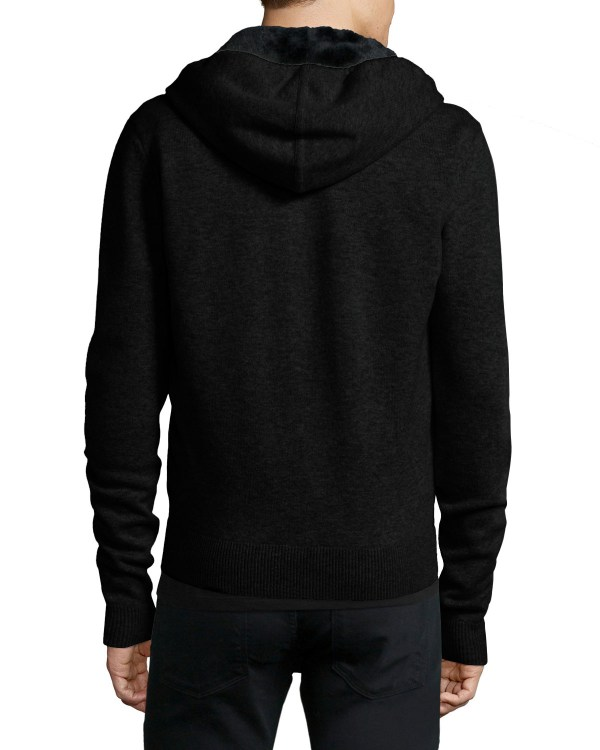 Yves Salomon Fur-lined Wool Cashmere Zip-front Knit Hoodie