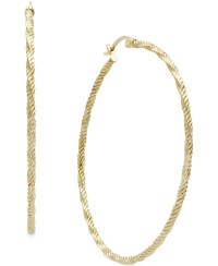 Gold Diamond Cut Hoop Earrings Lyst Macy S Diamond Cut
