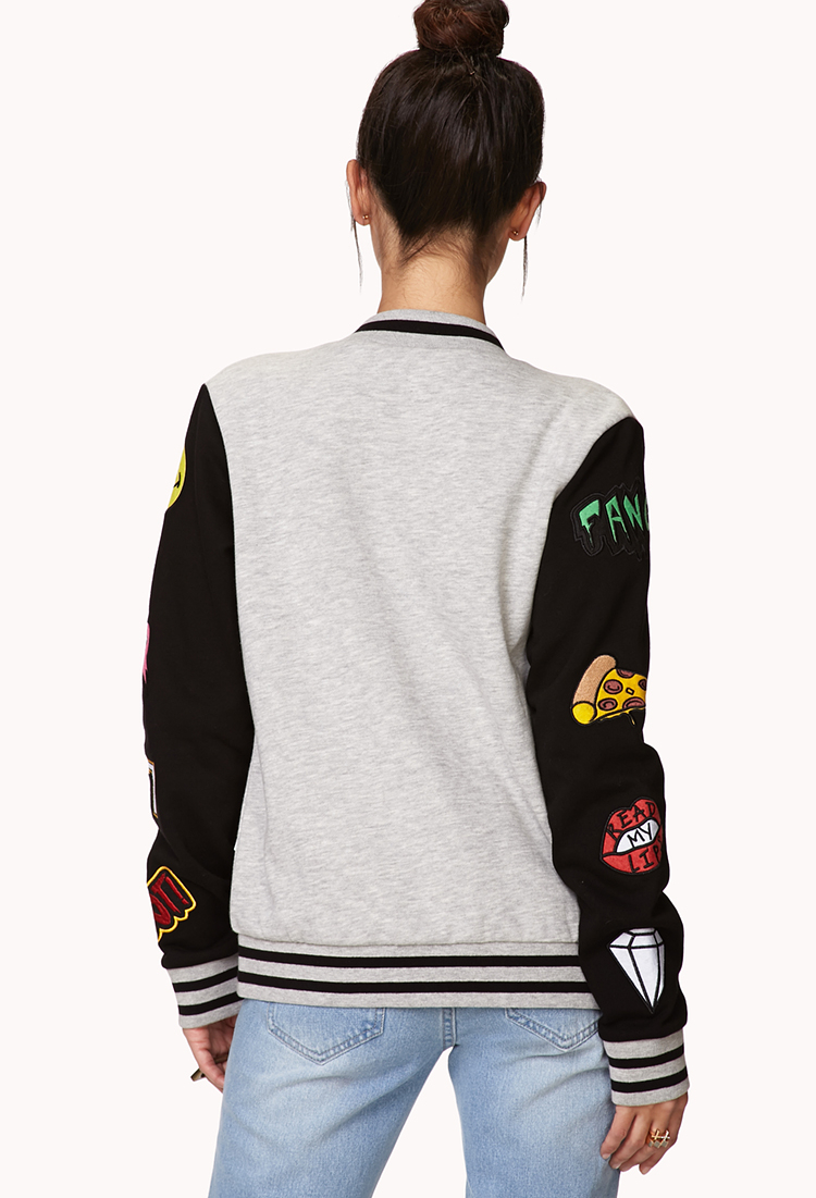 Lyst  Forever 21 Forever Cool Patch Varsity Jacket Youve Been Added To The Waitlist in Gray