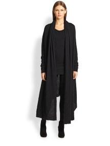 Donna Karan Cashmere & Silk Drape-front Coat In Black Lyst