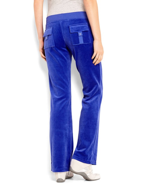Juicy Couture Heritage Fleur Velour Pants In Blue Cobalt