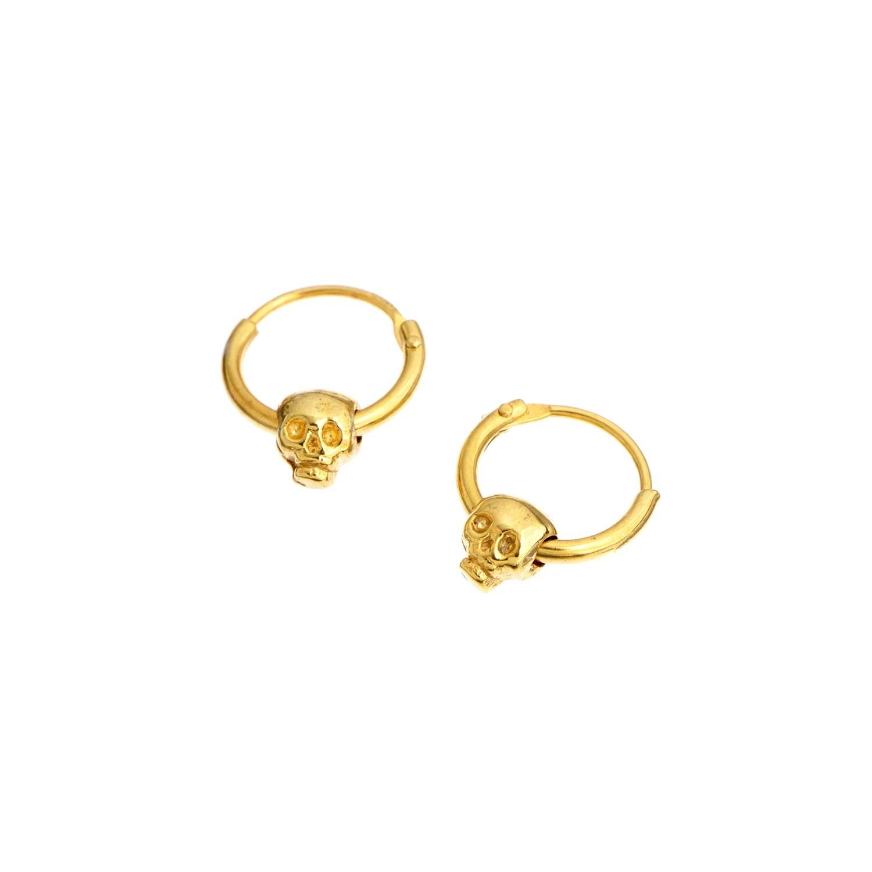 Momocreatura Baby Skull Hoop Earrings Gold in Gold