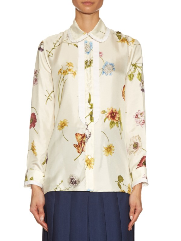 add6779eb54d Lyst - Gucci Windly Flowers-print Satin Blouse In White