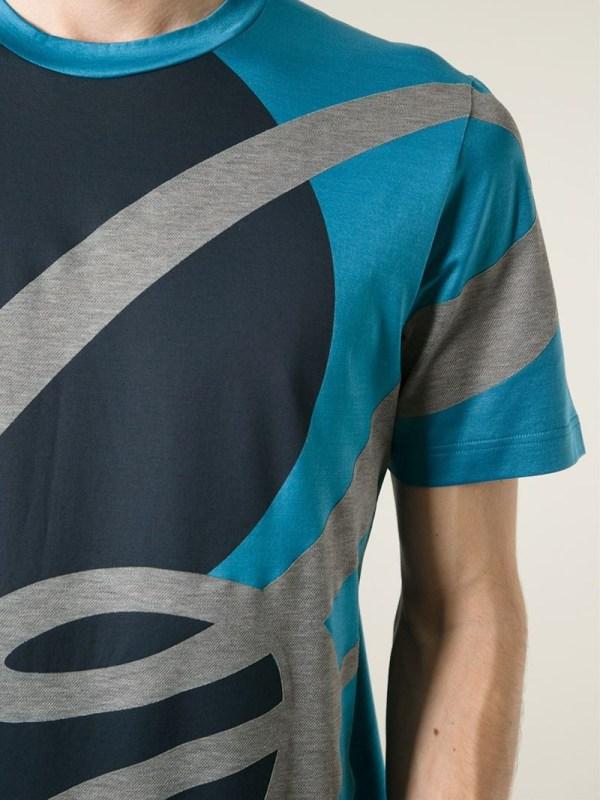 Brioni Logo Print T-shirt In Blue Men - Lyst