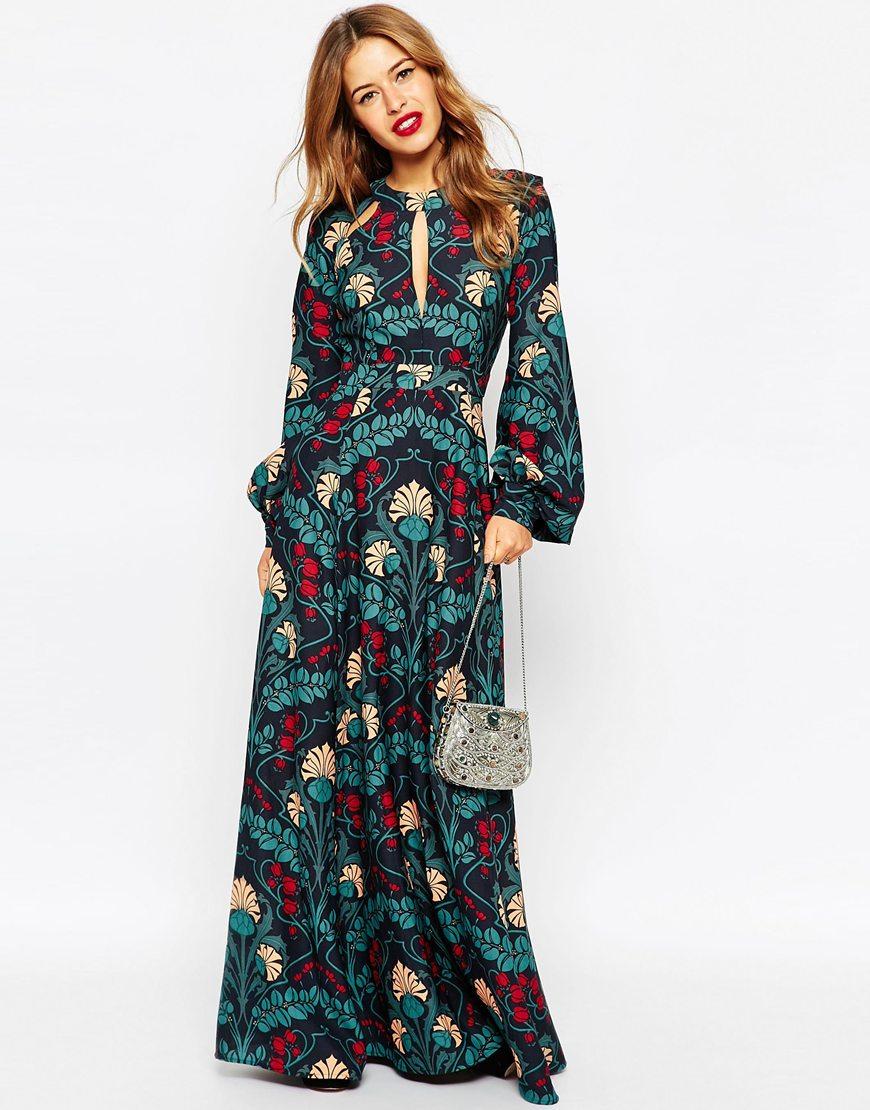 Asos Floral Kaftan Keyhole Maxi Dress Lyst