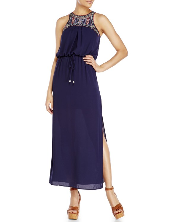 City Triangles Navy Embroidered Maxi Dress In Blue Lyst