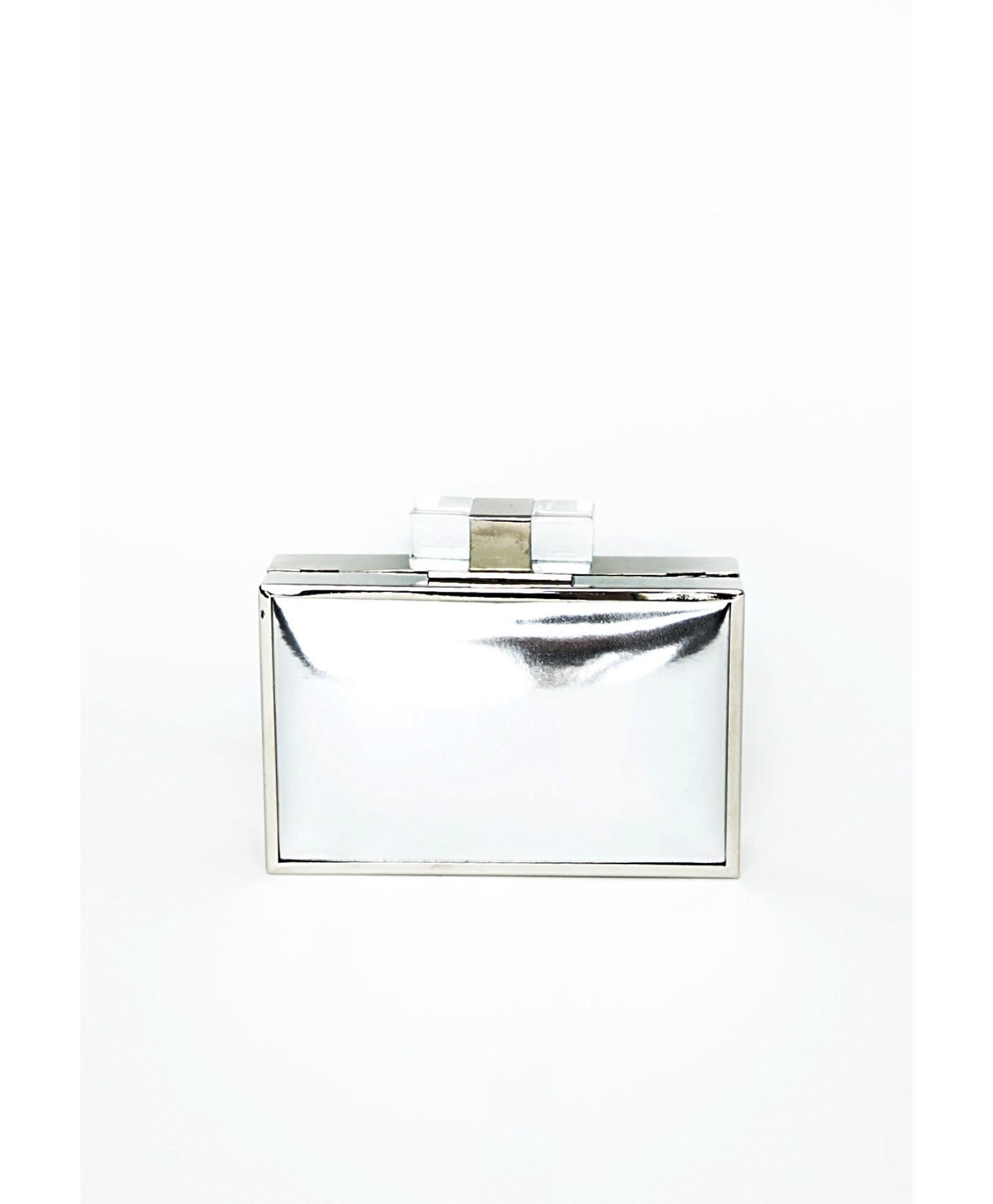 Missguided Nanase Metallic Box Clutch Bag In Silver In
