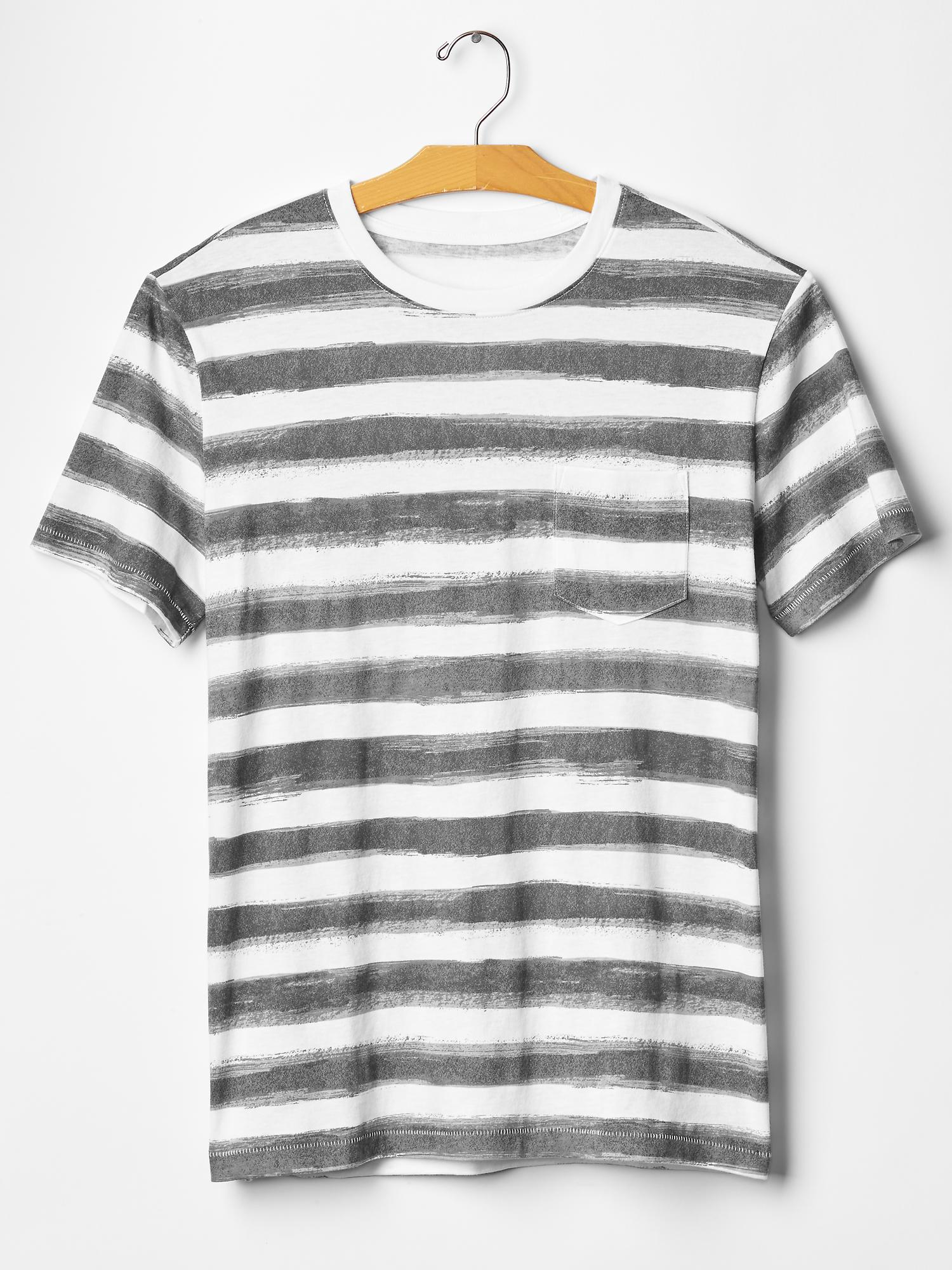 Gap Paint Stripe Crewneck T-shirt in Gray for Men (gray