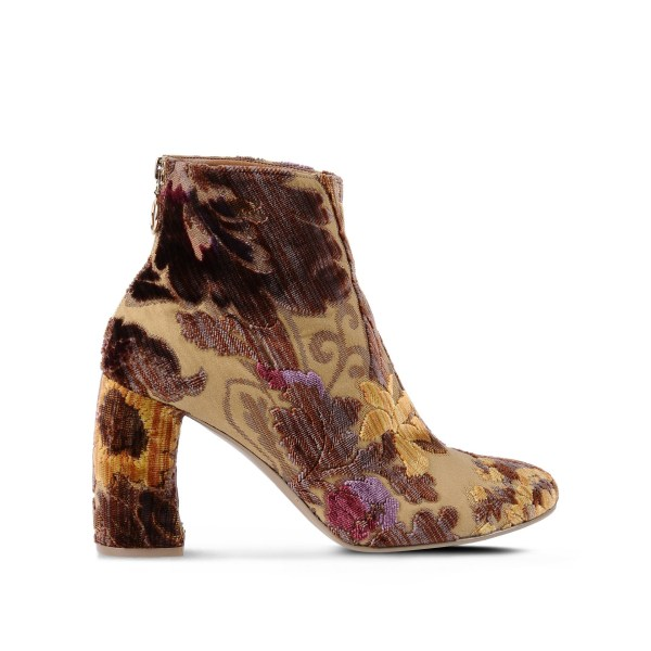 Stella Mccartney Velvet Mustard Brocade Boots In Brown - Lyst