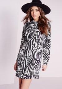 Missguided Collarless Shirt Dress Zebra Print in Black | Lyst
