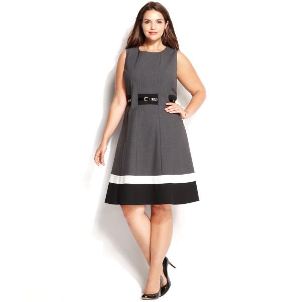 Calvin Klein Size Colorblock Belted Dress In Black