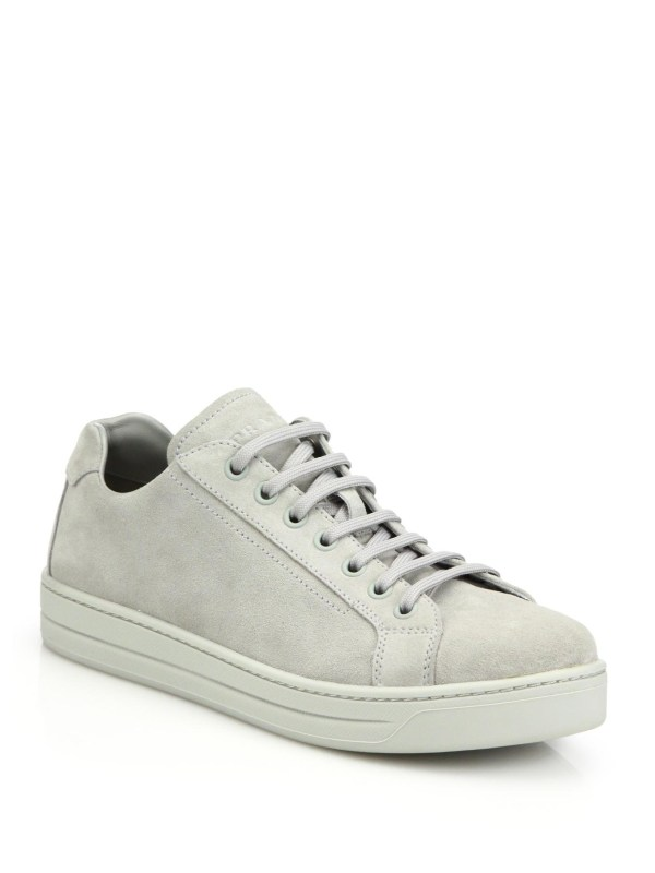 Lyst - Prada Suede Lace- Sneakers In Gray