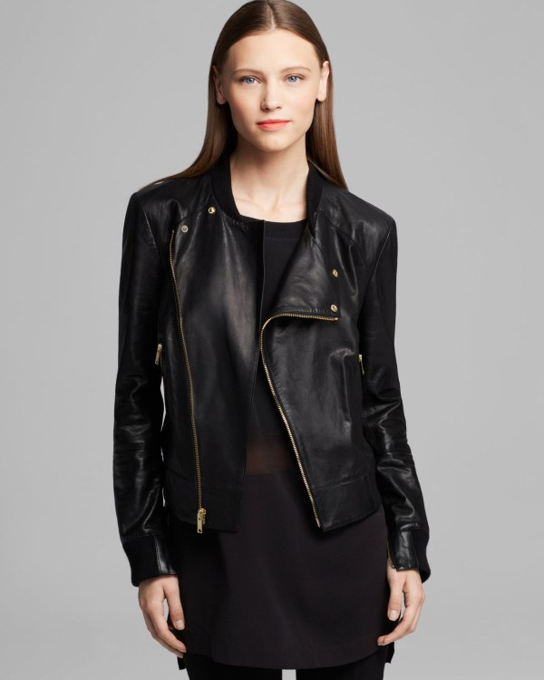 Lyst - Dkny Asymmetrical Zip Front Leather Jacket In Black