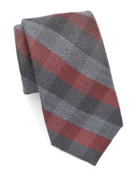 Lyst - Calvin Klein Checked Plaid Tie in Red for Men