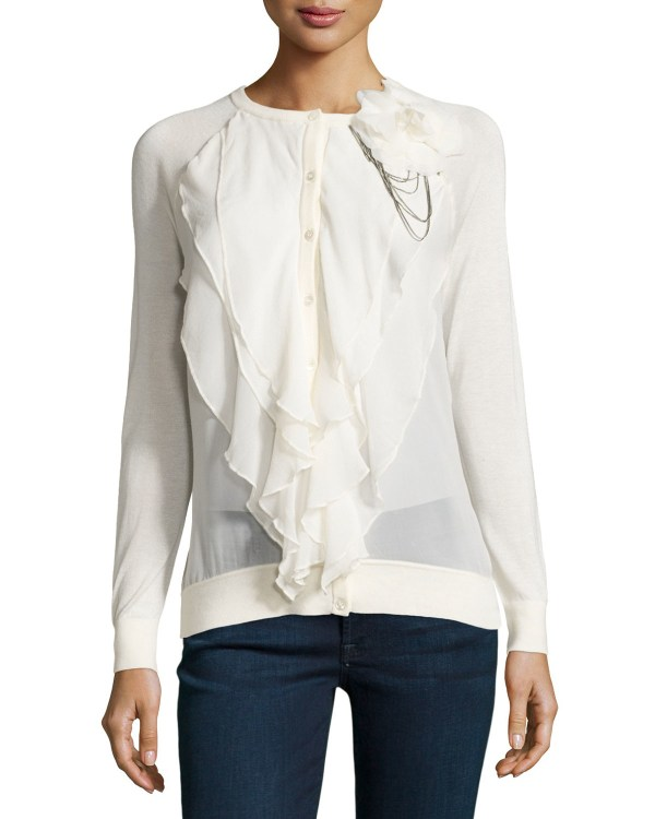 Lyst - Haute Hippie Multi-layer Ruffle-front Cardigan In White