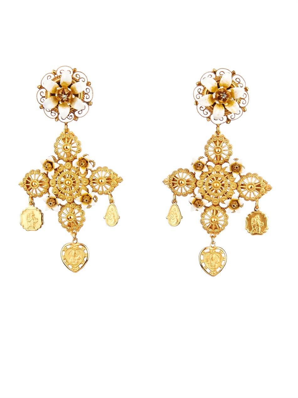 Dolce Amp Gabbana Rose And Charm Embellished Earrings In