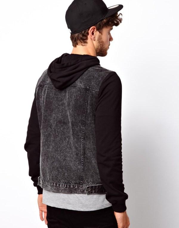 Asos Denim Jacket With Jersey Sleeves In Black Men - Lyst