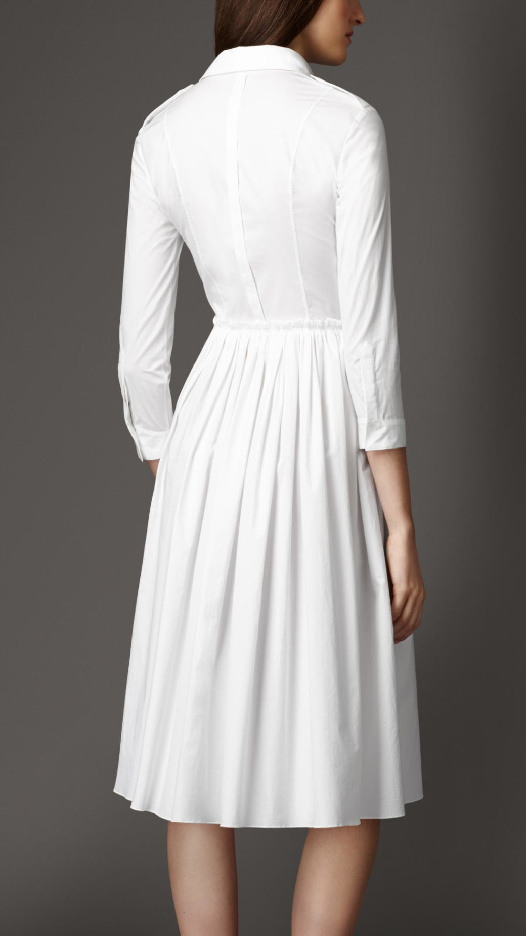 Burberry Skirted Stretch-Cotton Shirt Dress in White - Lyst