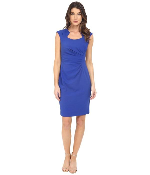 Calvin Klein Cap Sleeve Ruched Sheath Dress In Blue Lyst