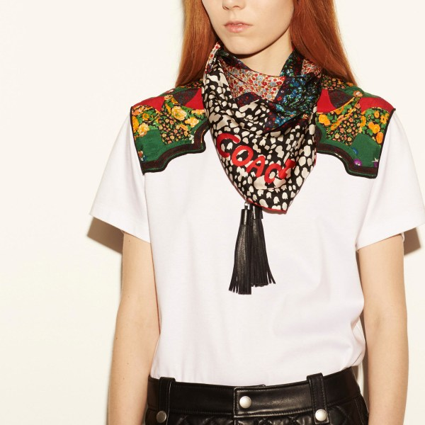 Coach Embellished Flower Patchwork Silk Twill Square Scarf
