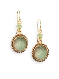 Stephen dweck Green Agate, Carved Crystal & Bronze Drop