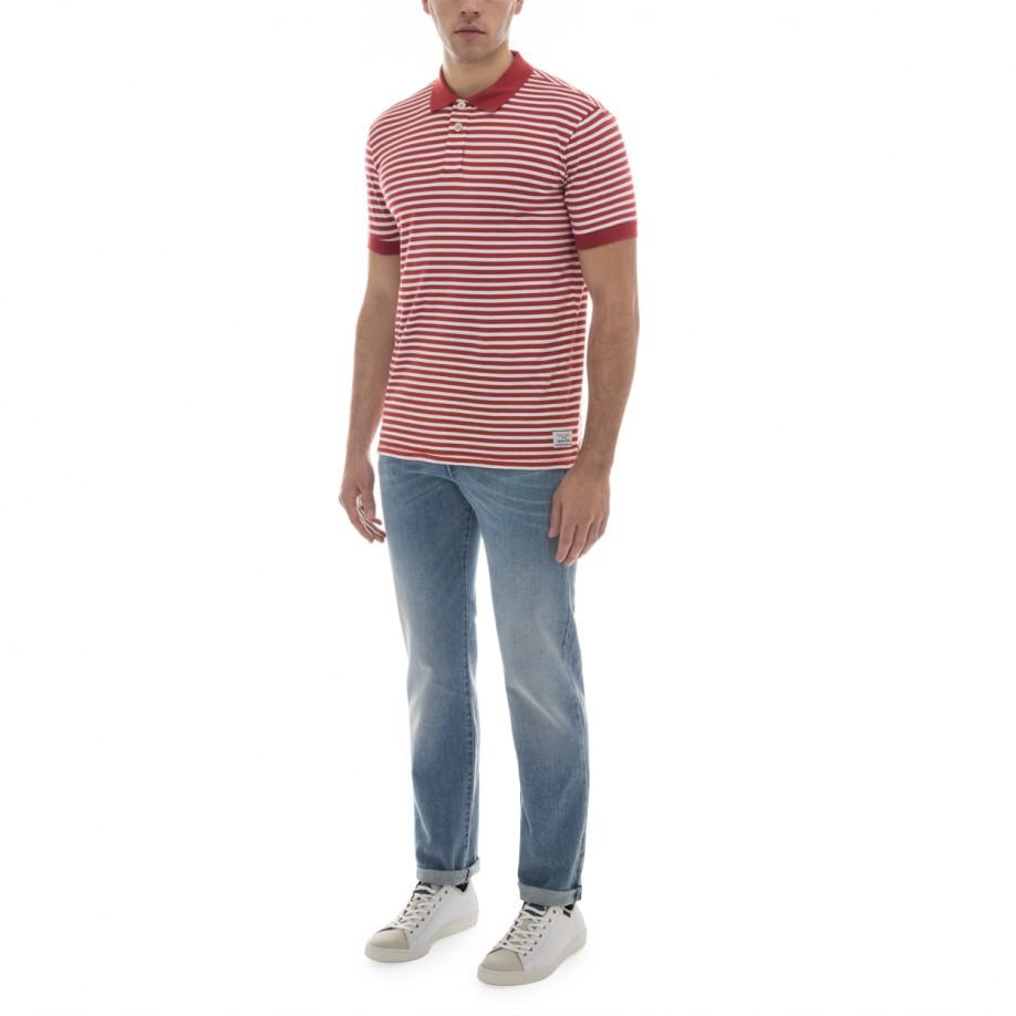 Paul smith Mens Red And White Stripe Cotton Polo Shirt in