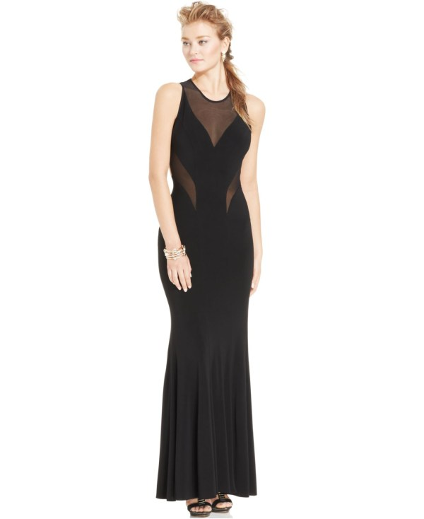 Lyst - & Adam Illusion-panel Cutout Gown In Black