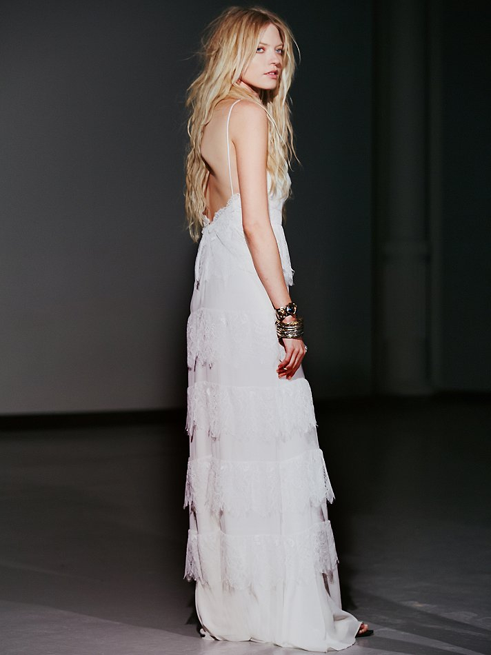 Free People Tiered Lace Maxi in White  Lyst