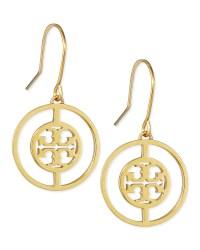 Tory Burch Deco Logo Drop Earrings in Gold   Lyst