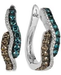 Le vian Diamond Wavy Hoop Earrings In 14k White Gold (9/10