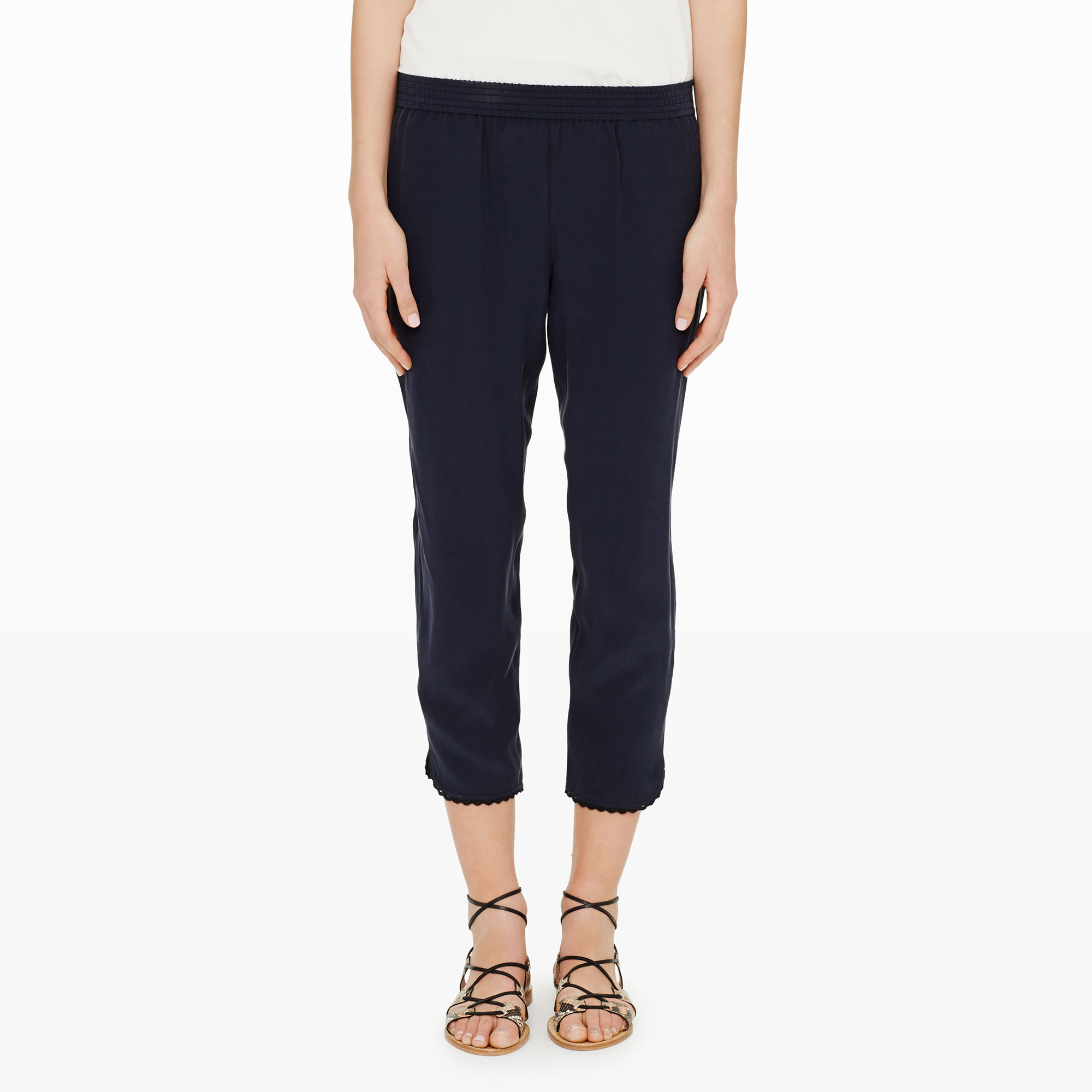 Lyst Club Monaco Terry Silk Lace Pant In Blue
