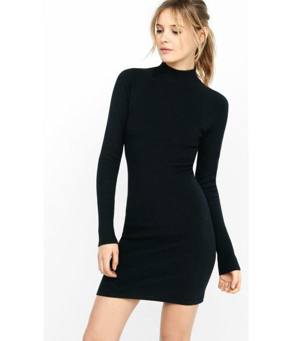 Express Ribbed Mock Neck Sweater Sheath Dress In Black Lyst