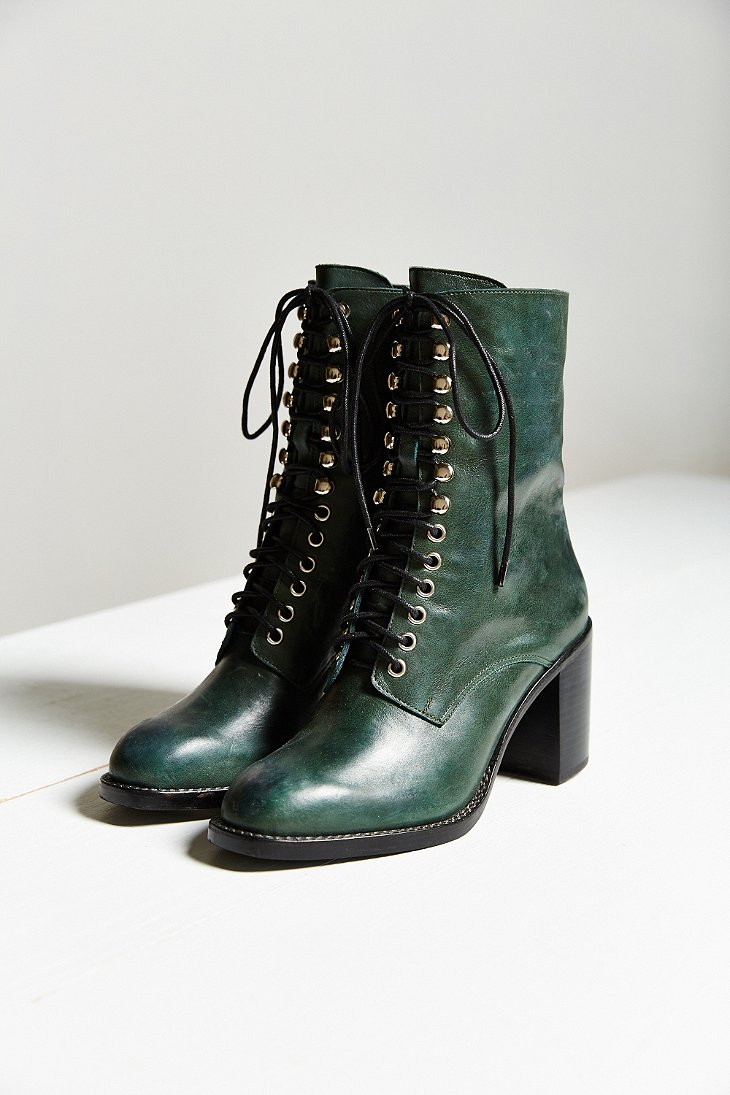 Lyst  Jeffrey Campbell Caspian Laceup Boot in Green