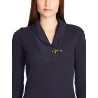 Lyst - Ralph Lauren Cotton Shawl-collar Sweater in Blue
