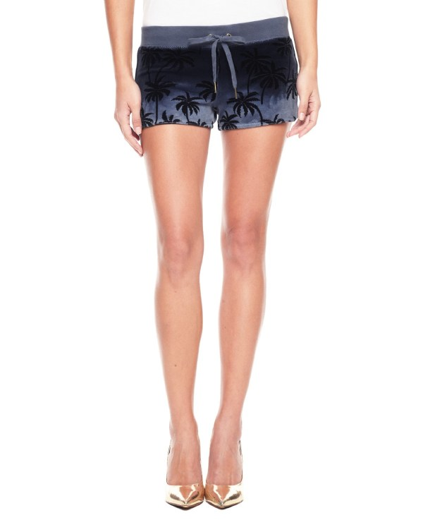 Juicy Couture Palm Ombre Velour Short In Blue