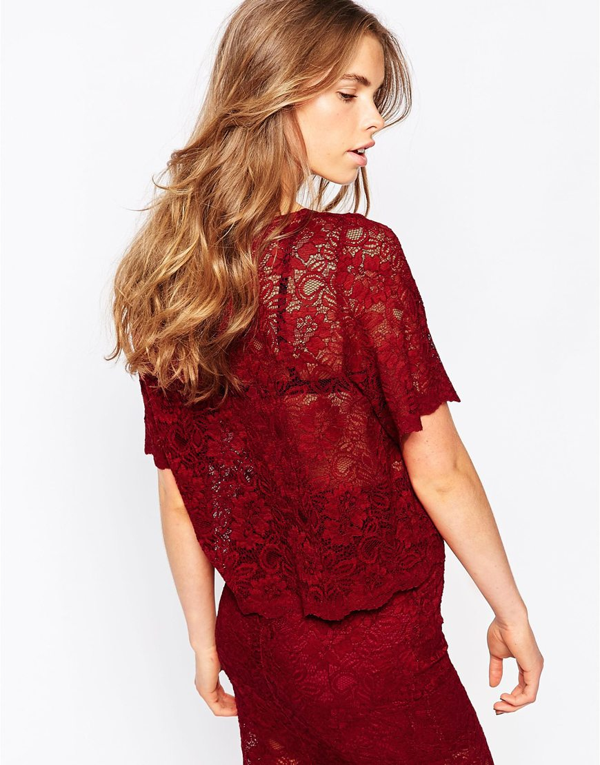 Lyst Ganni Short Sleeve Lace Top In Red