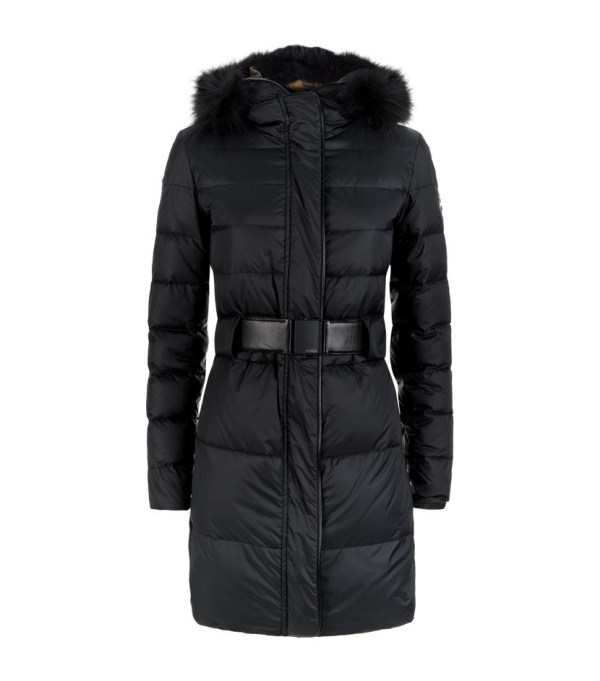 Fendi Fur Trim Quilted Coat In Black Lyst